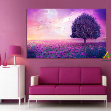 Purple Romantic Tree Birds Landscape Abstract Canvas Painting Nordic Poster Print Scandinavian Wall Picture Living Room No Frame(China)