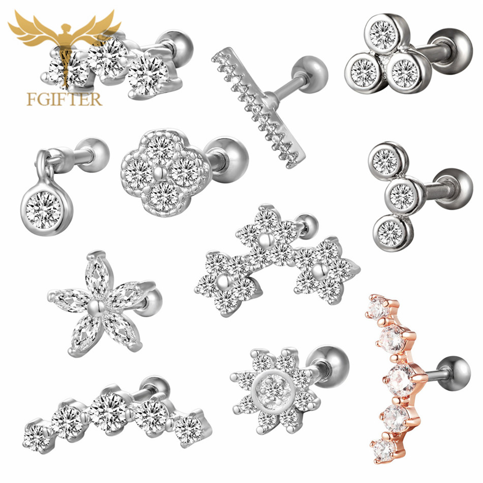 FGifter Surgical Titanium Crystal Flower Ear Studs Cartilage