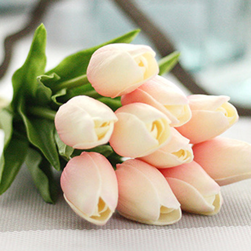 10pcs Artificial Tulip Flowers For Wedding Decoration With Rose