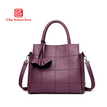PU creative new stitching portable girl bag Korean style fashion checkered shoulder Messenger Mummy 2018 launch