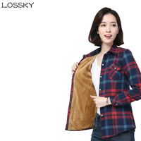 LOSSKY New Winter Coreano Coltivare Cotone Termico Long Sleeve Plaid Shirt Donna Modelli Più Spessi di Velluto Per Il Tempo Libero Selvaggio Camicette