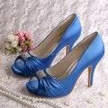 Wedopus Azul Escuro Das Senhoras de Salto Alto Bombas Sapatos de Casamento Do Dedo Do Pé Aberto Bombas de 4 Polegadas