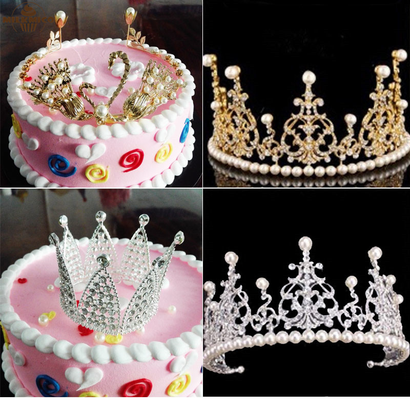 Milkmico New Crystal Diamonds Pearl Crown Cake Toppers ...
