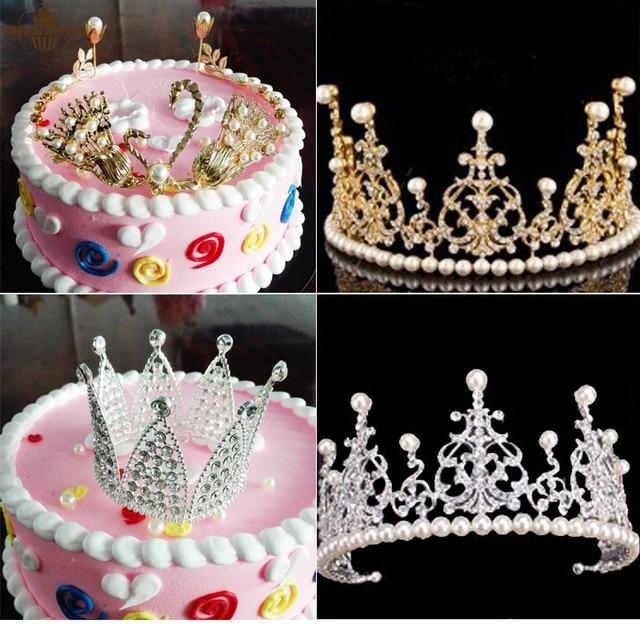1648da63b2e3 Milkmico New Crystal Diamonds Pearl Crown Cake Toppers Wedding Christening  Baptism Birthday Decorating Tools Cake Decorations