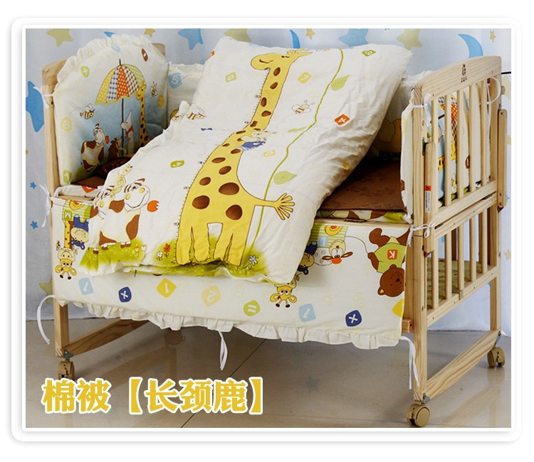 Promotion! 6PCS Bear Baby Crib bedding set Cot set Embroidered (3bumper+matress+pillow+duvet)