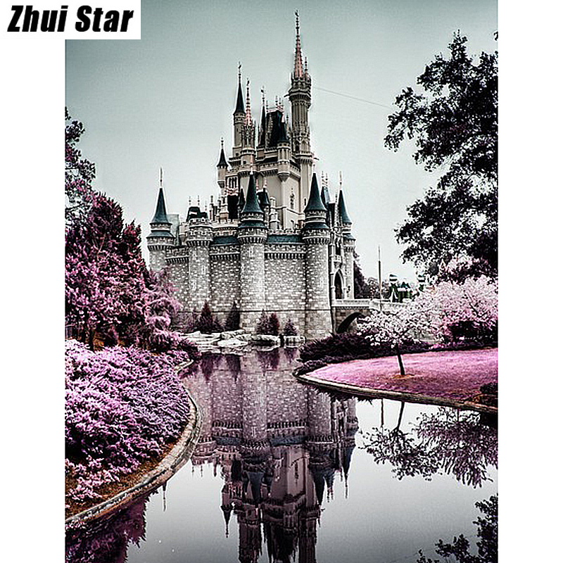 Full Drill Diamond Painting Embroidery Diy 5d Diamond Cross Stitch Fashion Diamond Mosaic Model of Rhinestones and Castle cx