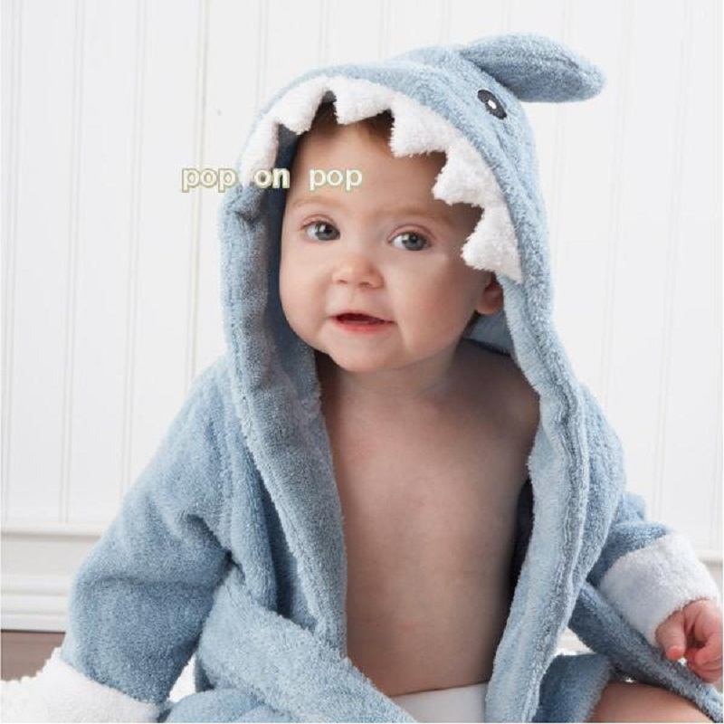 Blue Shark Baby Bath Towels Newborn <font><b>Blanket</b></font> Bedding Swaddle Bebe Bathrobe Hooded Bathing Towel baby stuff