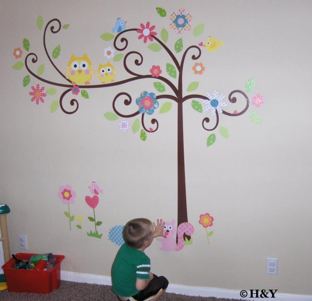 Wall Art For Kids aliexpress : buy free shipping owl scroll tree branch wall art