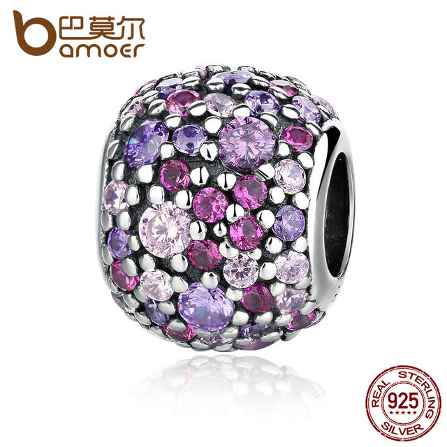 BAMOER 100% 925 Sterling Silver Colorful Beads Charm Charms fit Bracelets for Wo