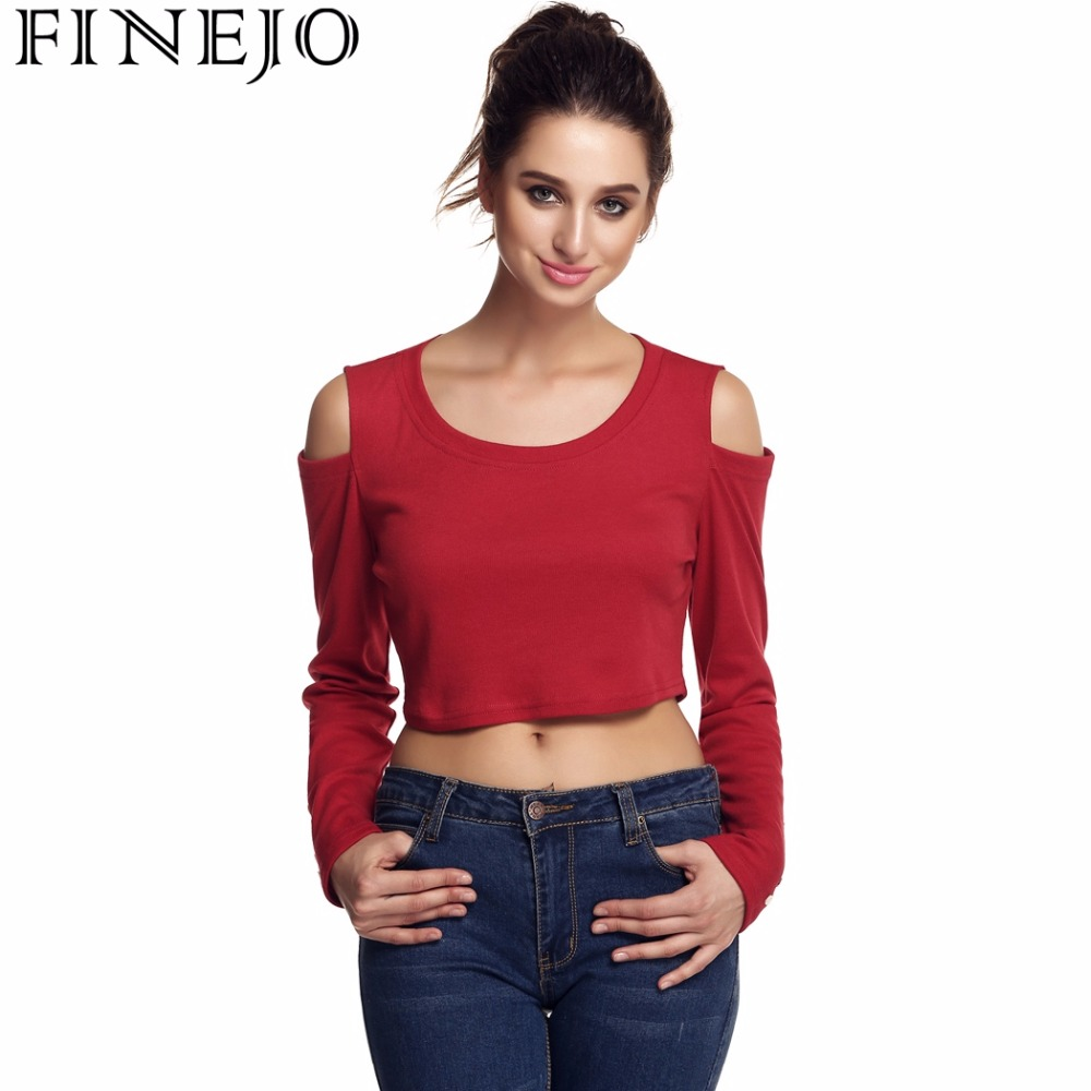 9a0896d4fa7d0 FINEJO Sexy Women T-Shirt Off Shoulder Crop Tops Long sleeve O-Neck Hollow  Out Tops Ladies Casual Cropped T-shirt Plus Size XXXL