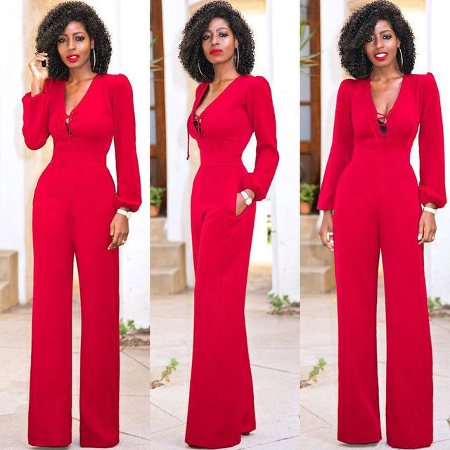a79f74586943 Vintage Women s Solid Casual Long Sleeve Jumpsuit Romper Long Pants  Trousers Clubwear