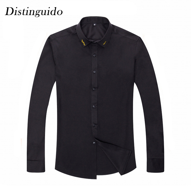City Man Solid Color Smart Casual Business Meeting Office Wear Dress Shirt Ceremony Wedding Long