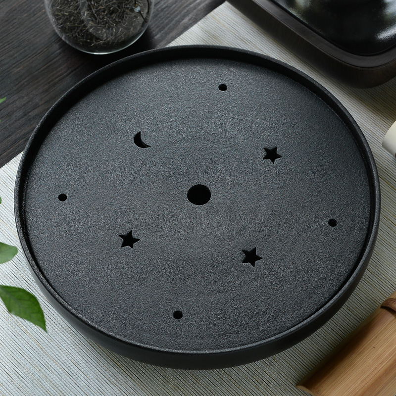 Round black crockery tea tld ceramic dry Big circular water storage stone tea tray tea Japanese special offer 30*30*6cm