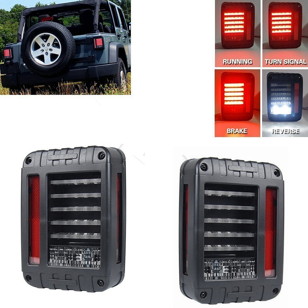 LED Tail Lights for JK 2007-2015 Jeep Wrangler with Running Brake Backup Reverse Turning Signal Light Tail Lamp Assembly for jeep wrangler jk 2007 2016 tail light diamond smoke led tail light
