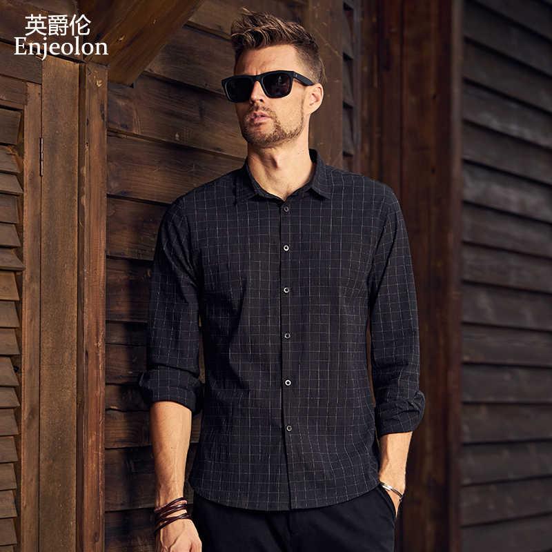 Enjeolon брендовая Осенняя рубашка Masculina Рубашка мужская черная клетчатая 3XL рубашка хлопковая Повседневная рубашка с длинными рукавами Мужская CX2336-1
