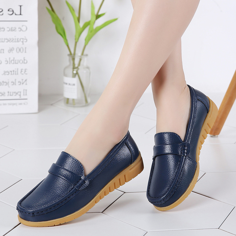 ZZPOHE Women Genuine Leather shoes middle aged mother shoes Female Slip on casual flat shoes soft new work shoes Plus Size 42 43|mother shoes|leather shoesshoes woman slip on - AliExpress