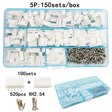 Juego de 100 sets/Box 5p pin 2,54mm XH2.54 conector enchufe + aguja recta + conector de enchufe de terminal conectores de adaptador de cable(China)