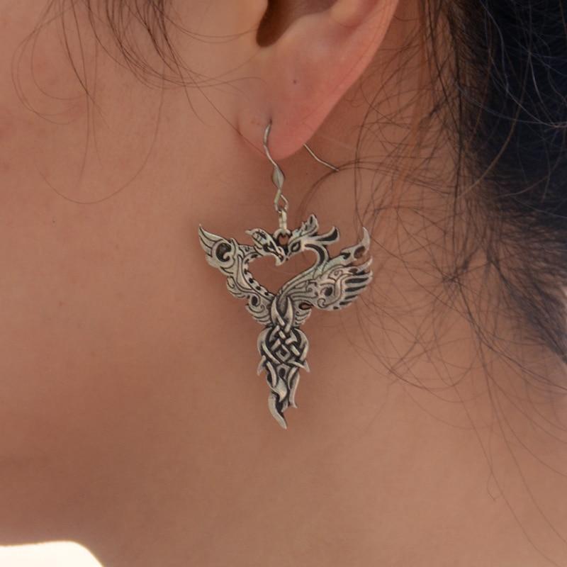 1 пара, серьги в виде птиц амулет викинга с драконом Фениксом, висячие серьги, ювелирные изделия