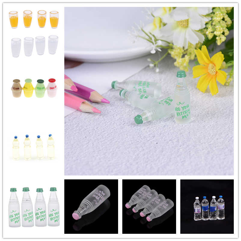 4Pcs Dollhouse Miniature Doll house Cup urniture drink Toy Mini Resin Water Cup Orange Fruit Juice Milk Cup Mineral Water bottle