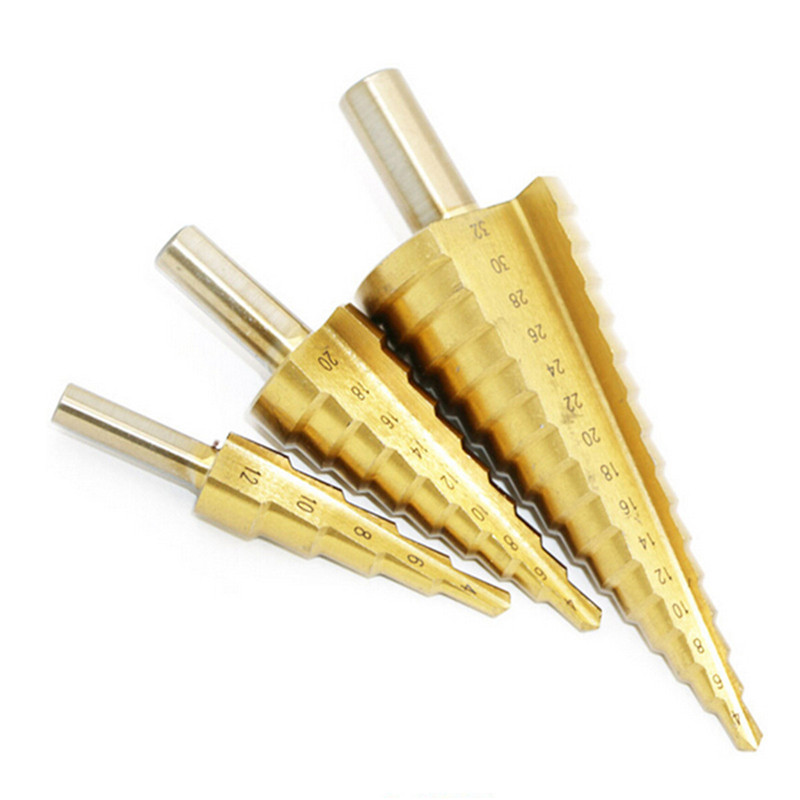 Step drill bit 32mm Triangle auger drill 4-32mm/4-20mm/4-12mm Triangular shank drill spiral groove step triangular pagoda shape