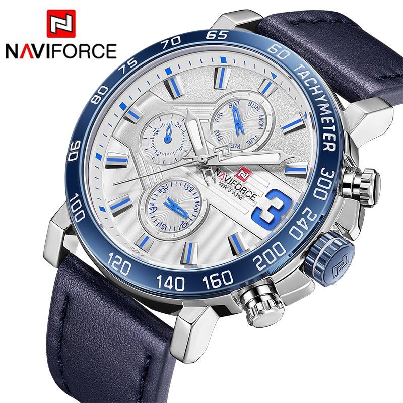 NAVIFORCE New Fashion Mens Watches Militray Sport Quartz Men Watch Leather Date Week 24 Hour Clock Wristwatch Relogio Masculino все цены