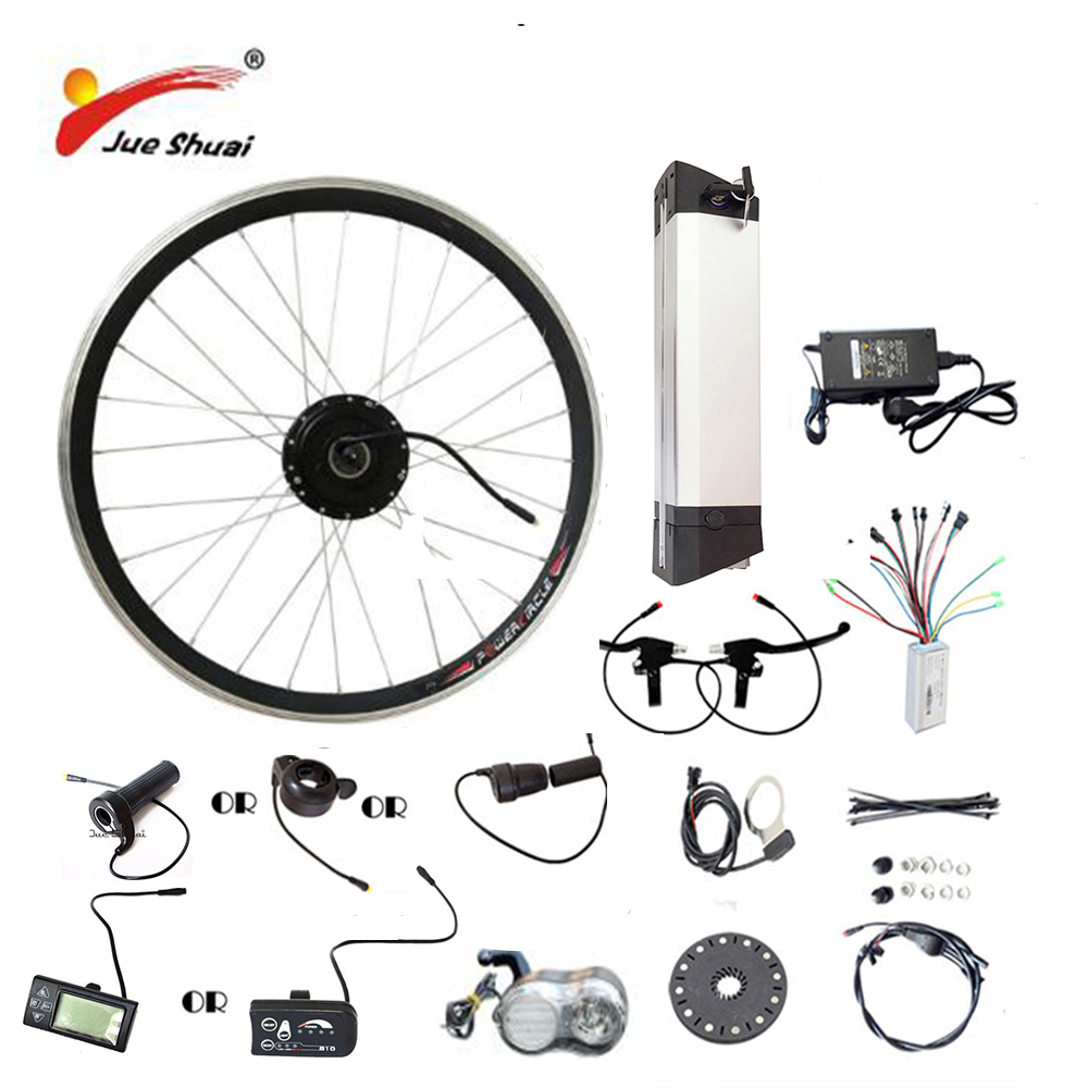 все цены на JS Hot Sale 36V 48V Electric Bike Kit Kettle battery 250/350/500W Motor Wheel LED LCD Ebike e bike Electric Bike Conversion Kit онлайн
