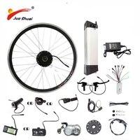 JS gorąca sprzedaż 36V 48V zestaw do roweru elektrycznego czajnik bateria 250/350/500W koło silnikowe LED LCD Ebike e rower zestaw do konwersji roweru elektrycznego w Rowery elektryczne od Sport i rozrywka na