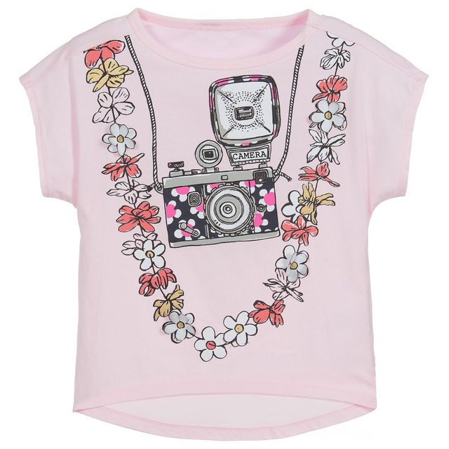 Girls' Cute Printed Cotton T-Shirt with O-Neck