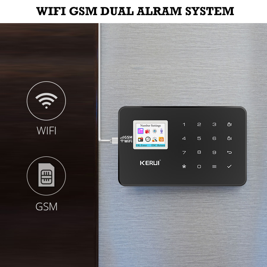 KERUI W18 WIFI GSM Alarm Alarmanlagen Sicherheits Hause Wireless Smart Home Security Alarm APP Control Pet-freundliche Motion Detektor kits