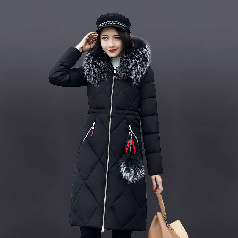 Large Faux Fur Collar Plus Size Women Long Winter Coat 2017 New Slim Thick Padded Cotton Warm Coat Winter Jacket Outerwear women thick winter large size long section padded hooded outerwear new fashion fur collar slim padded cotton warm coat jacket
