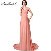 387b414dd Sexy Backless vestidos de noche largos para las mujeres Coral gasa tren de  barrido plisados Keyhole cuello Prom vestidos con cue.