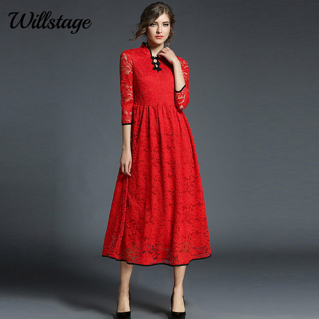 Willstage Long Lace Dresses Red Cheongsam Chinese Style Maxi Dress Women  Floral Print Vintage Party Dress Bow New 2018 Spring df11afd28b28