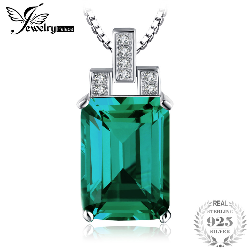 6.51ct Created Emerald Pendant Emerald Cut High Quality Solid 925 Sterling Silver Vintage Set Brand New