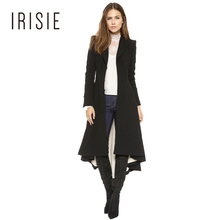 IRISIE Apparel Black Asymmetrical High Low Longline Coat Autumn Casual Loose Female Trench Coat V Neck Ruched Hem Women Trench