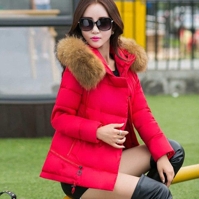 8 цвета Плюс размер Женщины пальто Зима 2016 Новый Женский куртки Леди Хлопка мягкой пиджаки Меха С Капюшоном воротник Парки пальто короткое M23