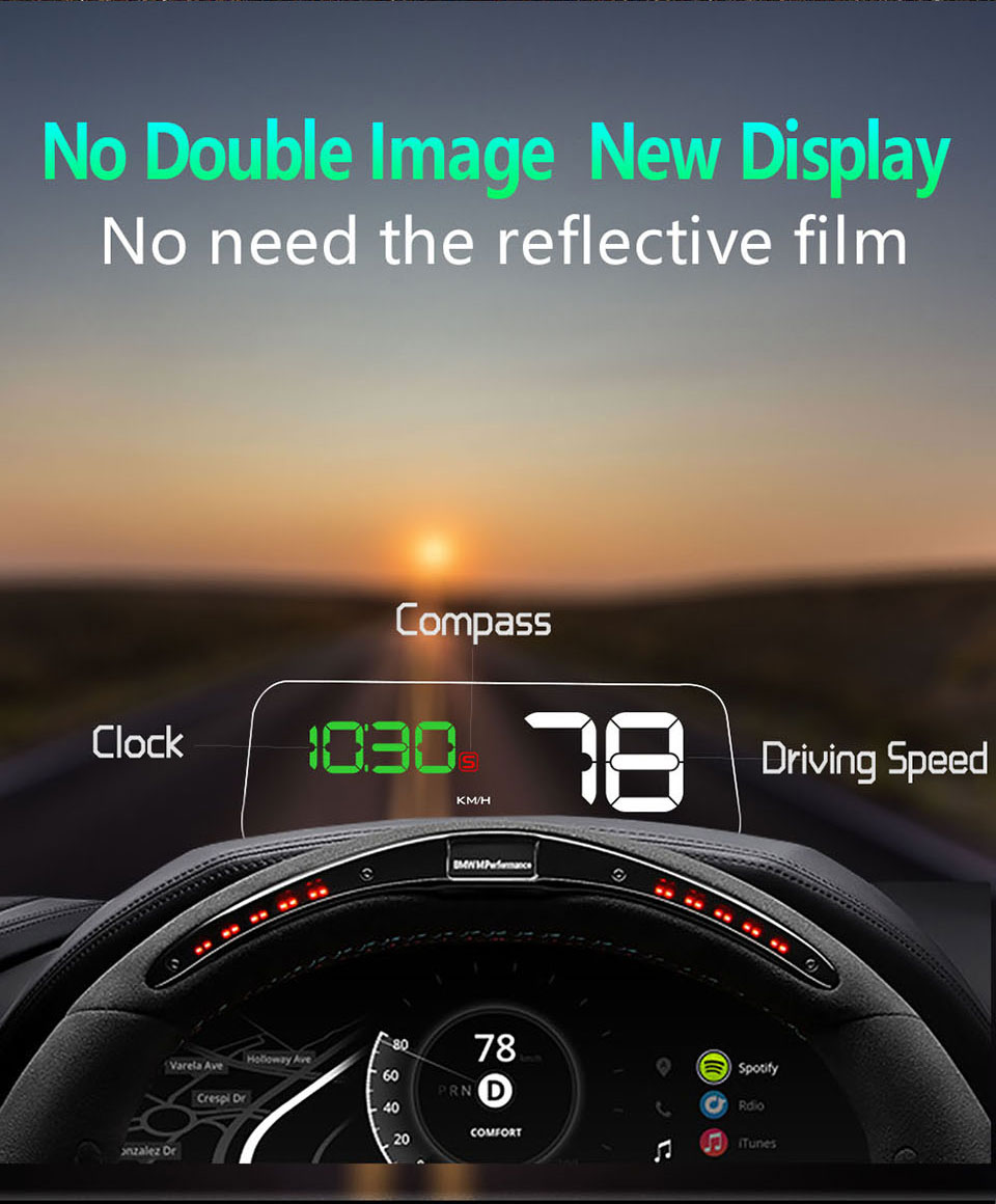 Original VJOYCAR C500 OBD2 Hud T900 GPS Head Up Display Projector Digital Car Speed Projector On-Board Computer Fuel Mileage 17