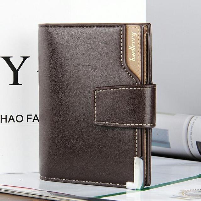 Famosa marca de lujo baellerry negocio mens del zurriago de la carpeta de documentos de cuero genuino trifold monedero titular de la tarjeta marrón portomonee