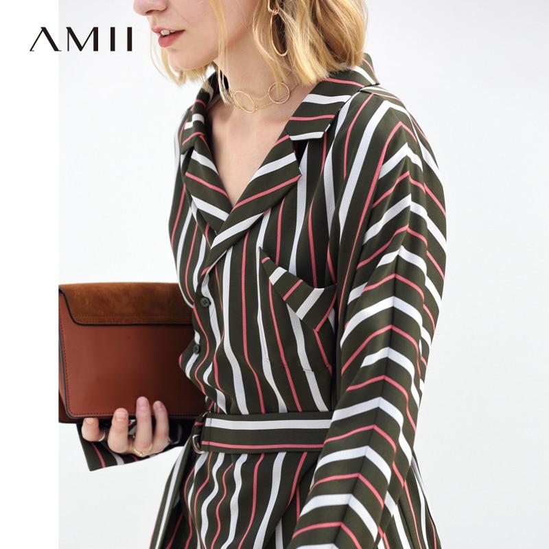 Lady Robes Avant Green Femmes Robe Minimaliste Conception Longue Stripe 2018 Office Chic Femelle Automne Retour marine Amii Courte Origine Bleu Army xO04qUwaq