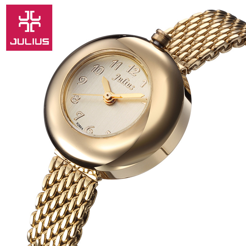 Top Julius Lady Women's Watch Japan Quartz Hours Fashion Clock Bracelet Stainless Steel Round Lovely Cute Girl Birthday Gift Box small julius lady women s watch japan quartz fashion hours tassel clock chain bracelet top girl s valentine birthday gift box