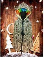 groothandel gratis verzending nieuwe kapmantel luipaard kinderen mantel jurk mooie cartoon kostuum elf dieren kinderkleding