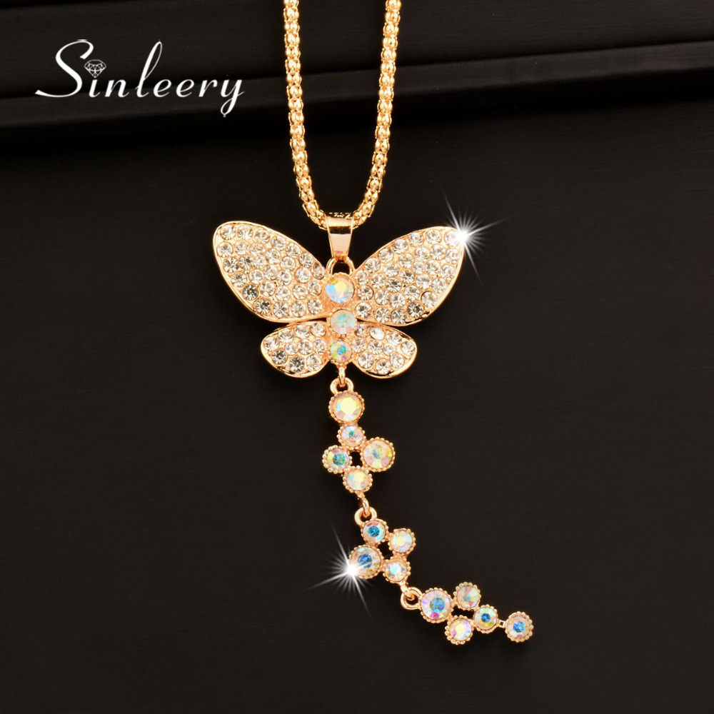 Charm Rhinestone Butterfly Long Pendant Necklace Gold Color Chain For Women Statement Jewelry Accessories My001