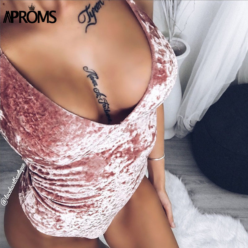 Aproms Fashion Gray Pink Bodycon Velvet Bodysuits Women Sexy Strap V-neck   Jumpsuits   Rompers Sweet Tops for Women Clothing 2019