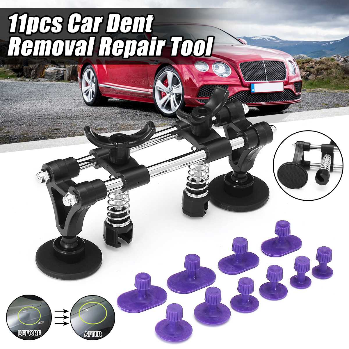New Car Dent Repair Tool +10xTabs For Car Body Removal Slide Suction Cup Bridge Set Vehicle Paintless Dent Repair Dent Puller