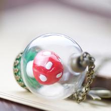 Buy glass mushroom pendants and get free shipping on aliexpress liebe engel vintage cute false mushrooms glass dome pendant sweater chain necklace for women 2017 aloadofball Choice Image