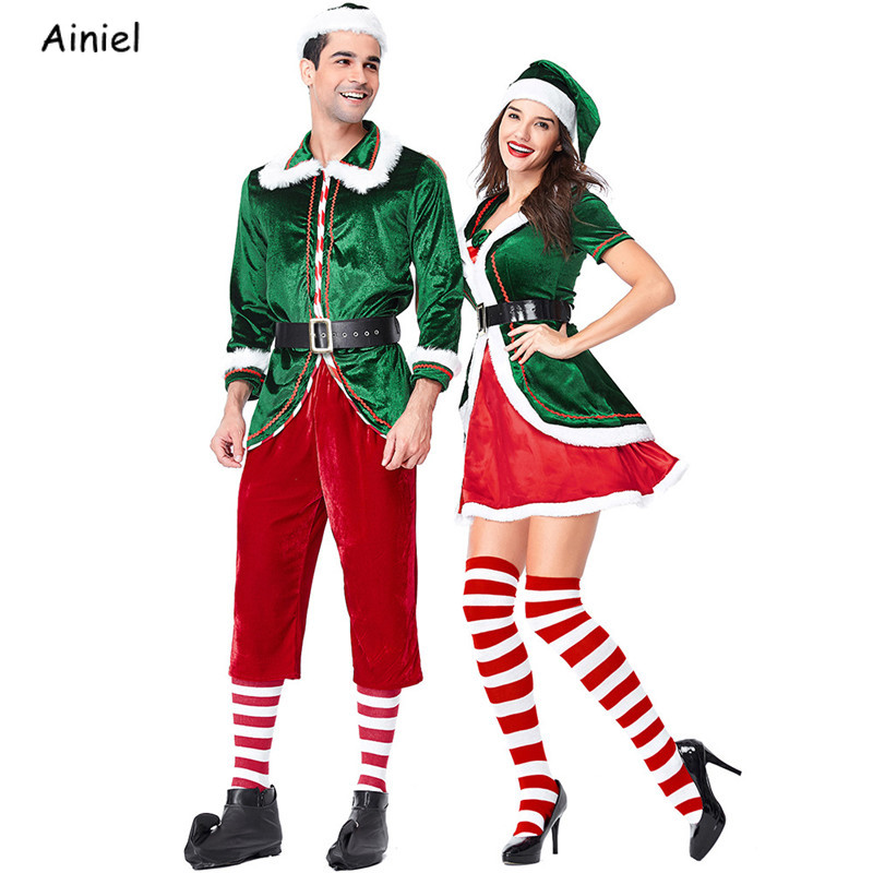 New Year Merry Christmas Clothes Dress Santa Claus Deluxe Velvet Cosplay Costumes Red Green Jacket Hat Belt for Adults Women Men
