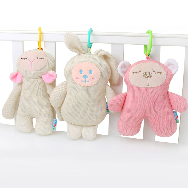 Baby Cartoon Soft Stuffed Plush Animals Toys For Baby Stroller Bed Hanging Doll Cute Knitting Soft Appease Sounding Popular Toy