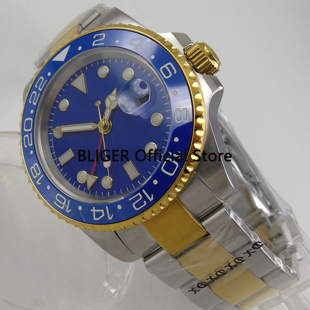 Sapphire Crystal BLIGER 40mm Blue Sterile Dial Ceramic Bezel GMT Function Luminous Gold Plated Automatic Movement Men's Watch solid bliger 40mm white sterile dial blue ceramic bezel gmt function luminous hand date clcok automatic movement men s watch b51