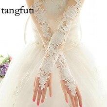 Красные слоновой кости Длинные кружевные аппликации Элегантные для невесты Свадебные перчатки для новобрачных Женщины-гиганты mariage luvas de noiva 2017 Дешевые