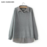 XUANCHURANWEN Women Autumn Knitwear Turn Down Collar Patchwork Faux Two Piece Long Sleeve Sweater Loose Knitwear