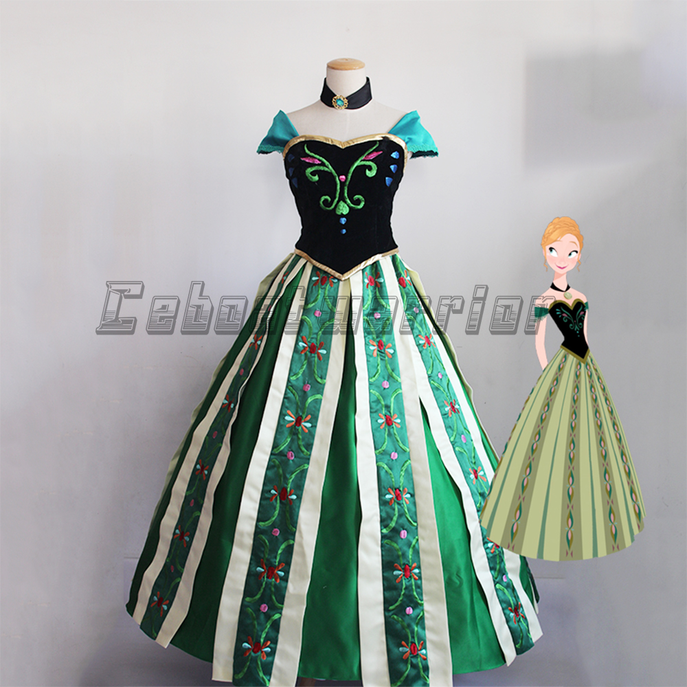2018 New Anna Princess cosplay costume Anna embroidery green fancy adults dress Custom made